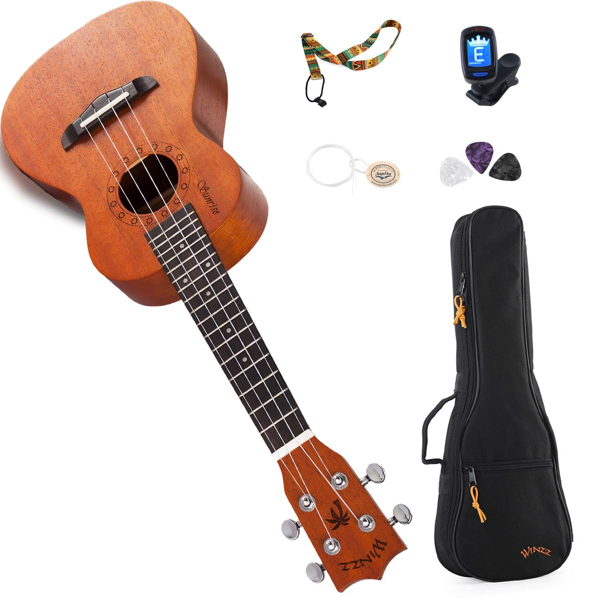 WINZZ Concert Mahogany Hawaii Ukulele with Bag, Tuner, Strap, Picks, Extra Strings, 23 Inches