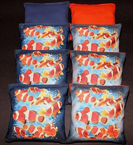 Custom Clown Fish Orange Blue 8 ACA Regulation Handmade Custom Cornhole bags (Clown Fish Bean Bag)