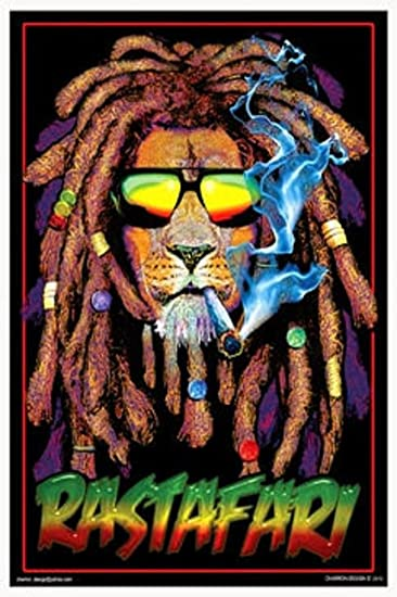 Amazon.com: Rastafari Lion Blacklight Poster 24 x 36in with Poster ...