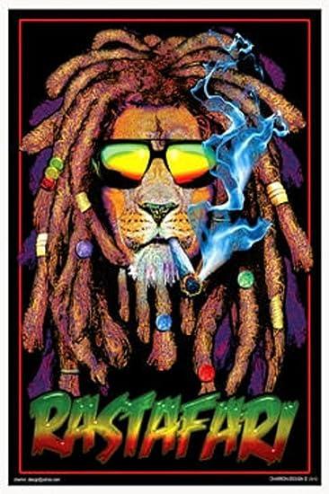 amazoncom rastafari lion blacklight poster 24 x 36in with poster hanger prints posters prints