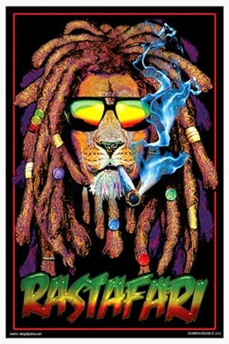 Amazoncom Rastafari Lion Blacklight Poster 24 X 36in Prints