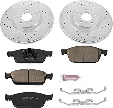 Power Stop K6350 Front and Rear Z23 Evolution Brake Kit with Drilled//Slotted Rotors and Ceramic Brake Pads