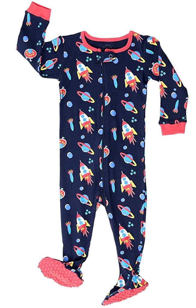 Elowel Baby Boys footed Rocket pajama sleeper 100% cotton (size 6M-5Years) Elowel Pajamas fb-Rocket00
