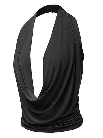 e62552d071 Sexy Drape Deep V-Neck Cowl Neckline Halter Backless Party Club Top Black S