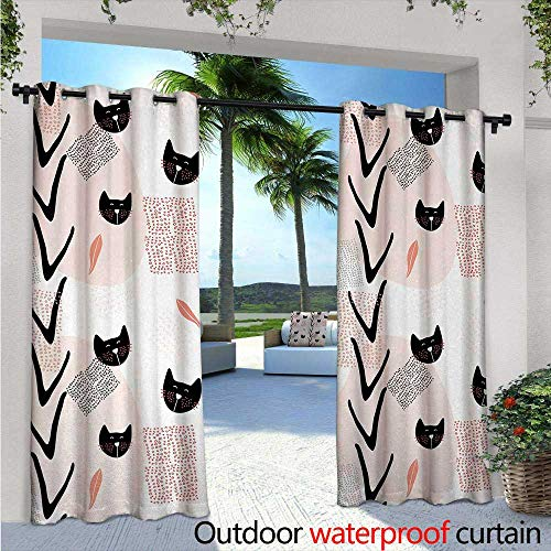 Modern Patio Curtains W84 x L96 Cute Cat Faces with Dotted Whiskers Kittens Animals Kids Nursery Theme Outdoor Curtain for Patio,Outdoor Patio Curtains Dark Coral Black Peach for $<!--$70.10-->