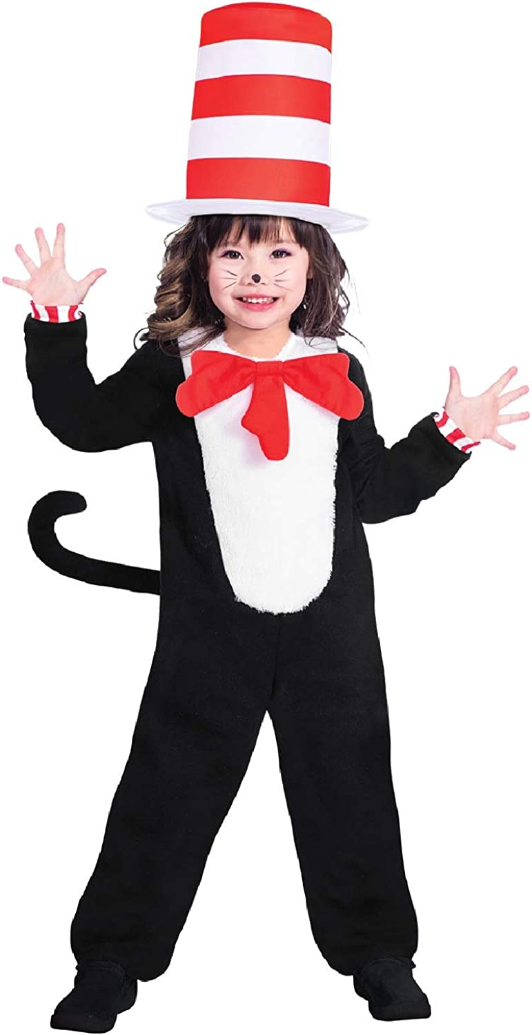 Children/'s Cat in the Hat Costume kids Fancy Dress outfit Book Day Week Dr Seuss