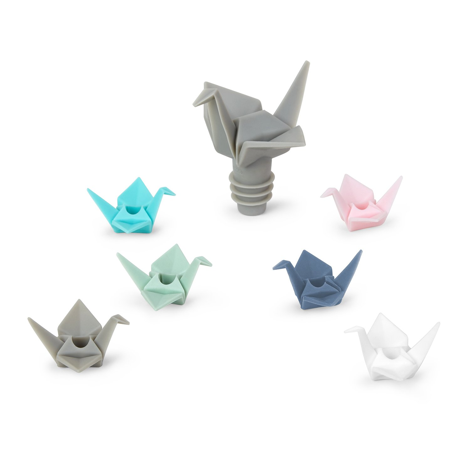 Umbra Origami Wine Bottle Stopper and Wine Charms, 7-Piece Set 1004311-022
