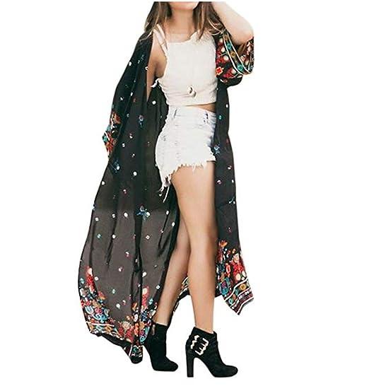5f6308c3f BCDshop Women Floral Shirt Coat Top Long Sleeve Loose Boho Kimono ...
