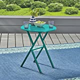 Great Deal Furniture Lucy Outdoor Iron Bistro Table, Matte Teal