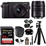 Panasonic DMC-GX85WK LUMIX 4K Mirrorless Camera with 12-32mm and 45-150mm Lenses 64GB Bundle