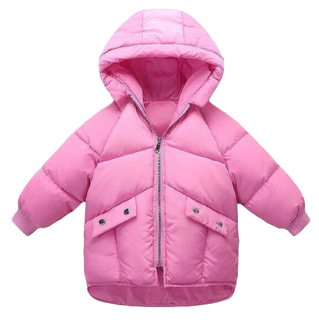 Joe Wenko Girl Boys Stylish Zipper Winter Puffer Hooded Hi-Low Down Jacket Coat