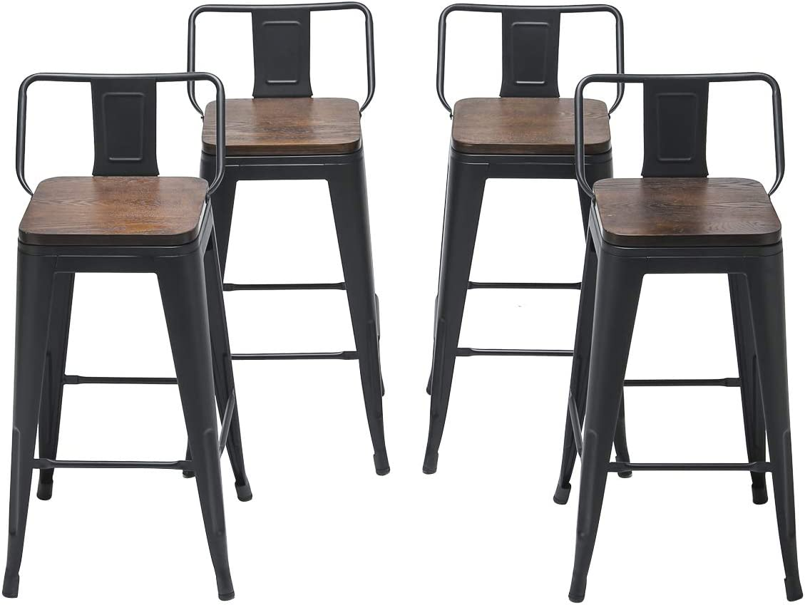 Changjie Furniture 24 Inch Swivel Metal Bar Stool Kitchen Counter Bar Stools Set of 4 24 inch, Swivel Low Back Black Wooden