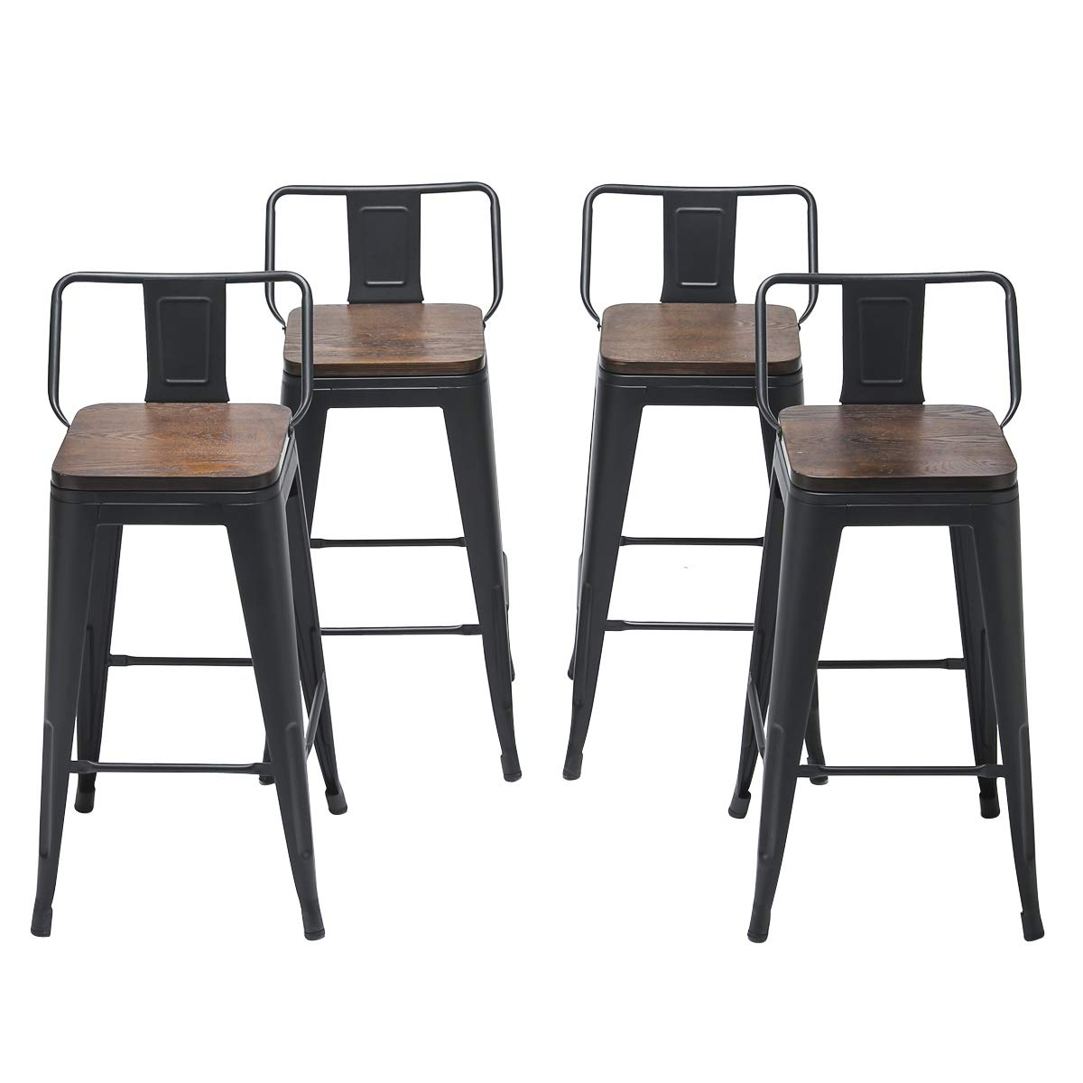 Changjie Furniture 24 Inch Swivel Metal Bar Stool Kitchen Counter Bar Stools Set of 4 24 inch, Swivel Low Back Black Wooden