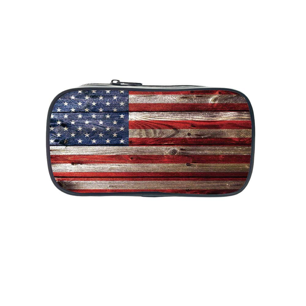 Diversified Style Pen Bag,Rustic American USA Flag,Fourth of July Independence Day Weathered Retro Wood Wall Looking Country Emblem,for Children,3D Print Design