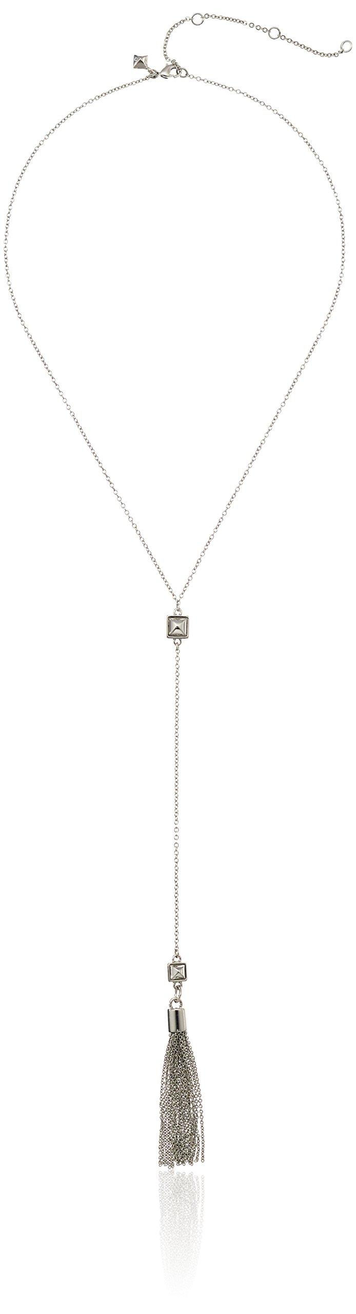 Rebecca Minkoff Stud with Fringe Rhodium Y-Shaped Necklace