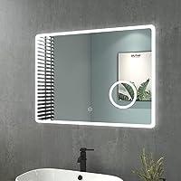 Espejo de baño con iluminación, 80 x 60 cm, LED, 3 colores de luz: blanco cálido/neutral…