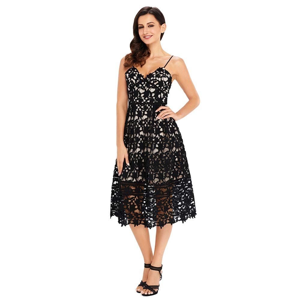 Black Women V Neck Bodycon Dress Lace Mini Party Evening Cocktail Dress Casual Daily Popular Holiday Beach Summer (color   Black, Size   L)