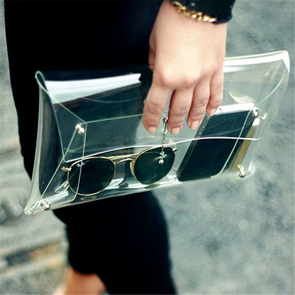 Feelontop® New Fashion Personality Trend Casual Bags Clear Plastic Envelopes Shoulder Messenger Handbag Hb-011