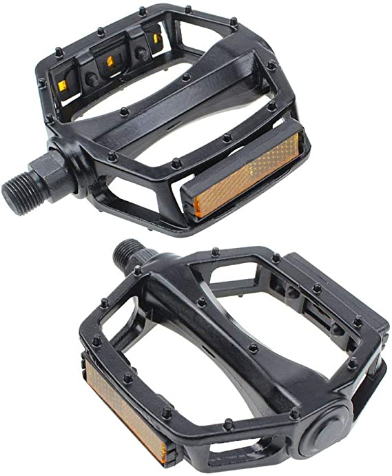 """9//16/"""" Bicycle Pedals Metal Alloy Black Silver Tough Pedal Reflective Reflectors"""