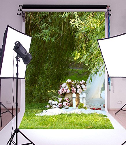 Laeacco 3x5ft Vinyl Photography Backdrop Outdoor Picnic Spring Park Green Meadow Flowers Bamboo Grass Scene Photo Background Children Baby Adults Portraits - Map Meadows Park
