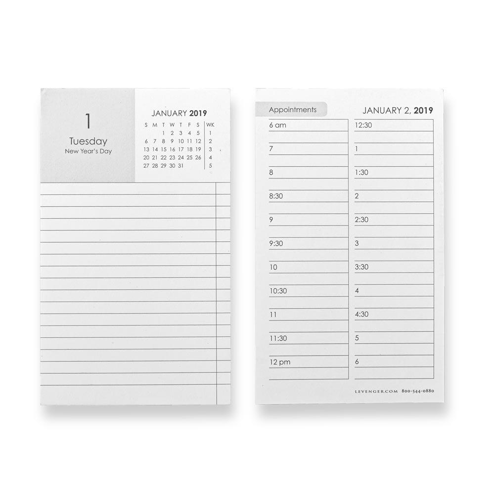 Levenger 3X5 Convenient Daily Calendar Cards, 2019 (ADS8815 19)