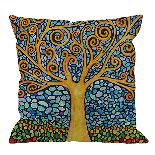 1 Art Print - HGOD DESIGNS Tree of Life Pillow Case,Amazing Tree of Life Mosaic Art Cotton Linen Cushion Cover Square Standard Home Decorative for Men/Women/Kids 18x18 inch Yellow Blue