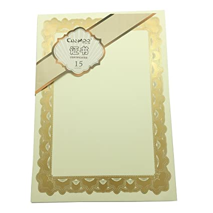 amazon com gold silver foil blank certificate blank plain paper
