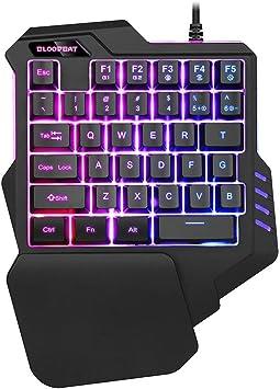 ASAY4u teclado para juegos con una sola mano, teclado para juegos, retroiluminación LED RGB, 35 teclas programables para teclado/escritura con una ...