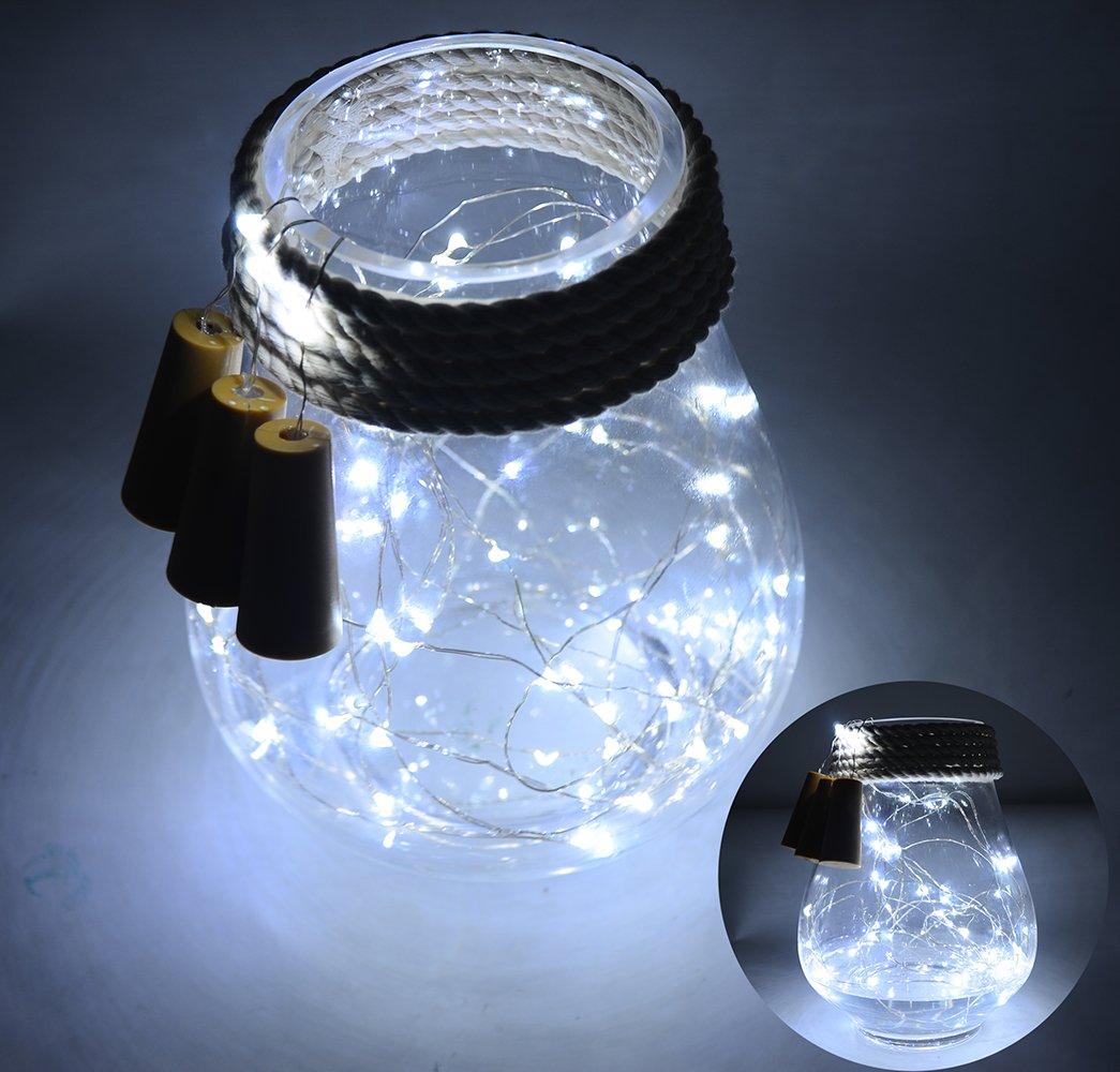6 Pack 20-LEDS Spark I Wine Bottle Light, AnSaw Cork Shape