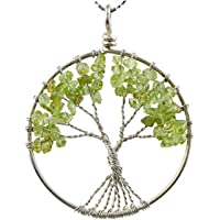 """Tree of Life Necklace Gemstone Necklace 26"""" -28"""" Chain Healing Crystals Chakra Jewelry Anniversary Valentine's"""