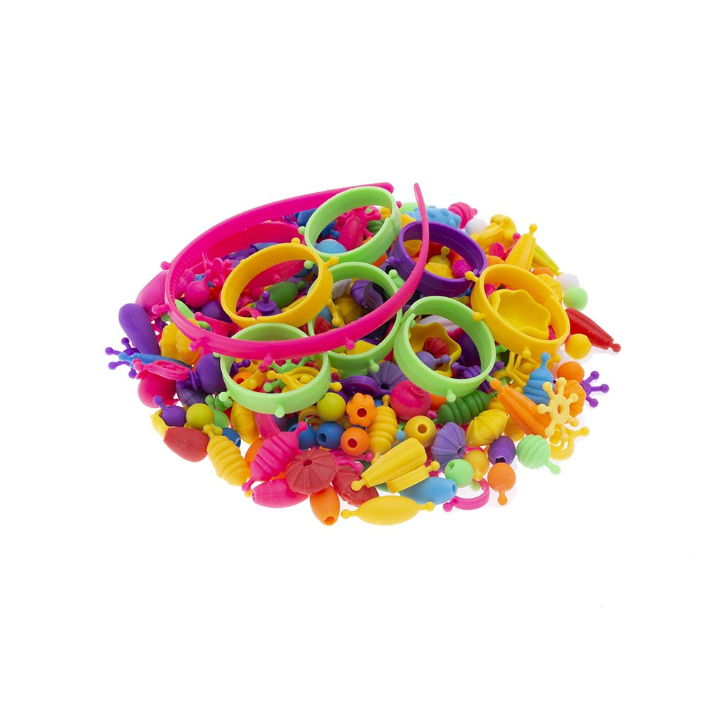 HOUSWOUKER 370 PCs Pop Snap Beads Set for Kids Jewelry Making DIY Children Toddlers Creative DIY Jewelry Set Toys Kit with A Gift Bag for Rings, Bracelets, Necklace