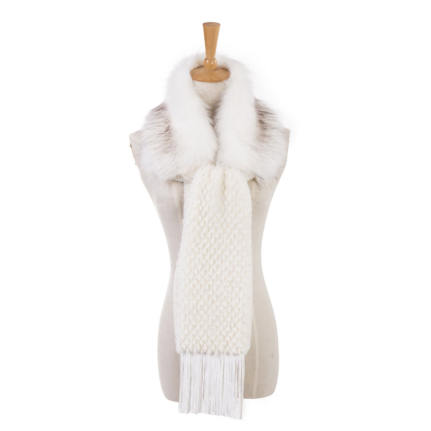 Faux Fur Collar for Winter Coat and Jacket, Fur Winter Warm Scarf for Women by REDESS[Various of Styles and Colors] (Scarf Cream White)