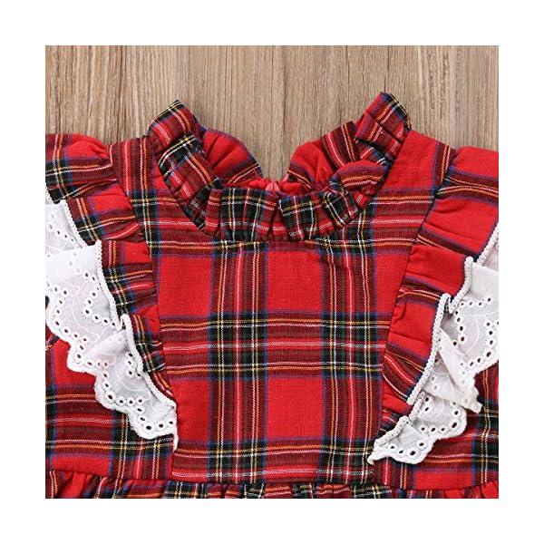 Carolilly Vestiti Sorella Grande e Piccola Natale Neonata Bambina Pagliaccetto in Pizzo Abito Principessa a Quadri Rosso… 5