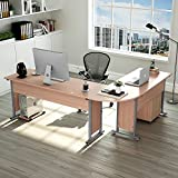 "Tribesigns Large Modern L-Shaped Desk, 87""L x 24"" D x 30""H Corner Computer Desk Study Table Workstation for Home Office Wood & Metal with Drawers, Salt Oak"