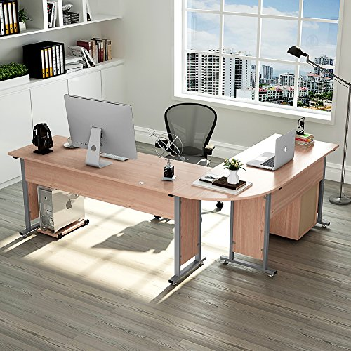 """Tribesigns Large Modern L-Shaped Desk, 87""""L x 24"""" D x 30""""H Corner Computer Desk Study Table Workstation for Home Office Wood & Metal with Drawers, Salt Oak by Tribesigns"""