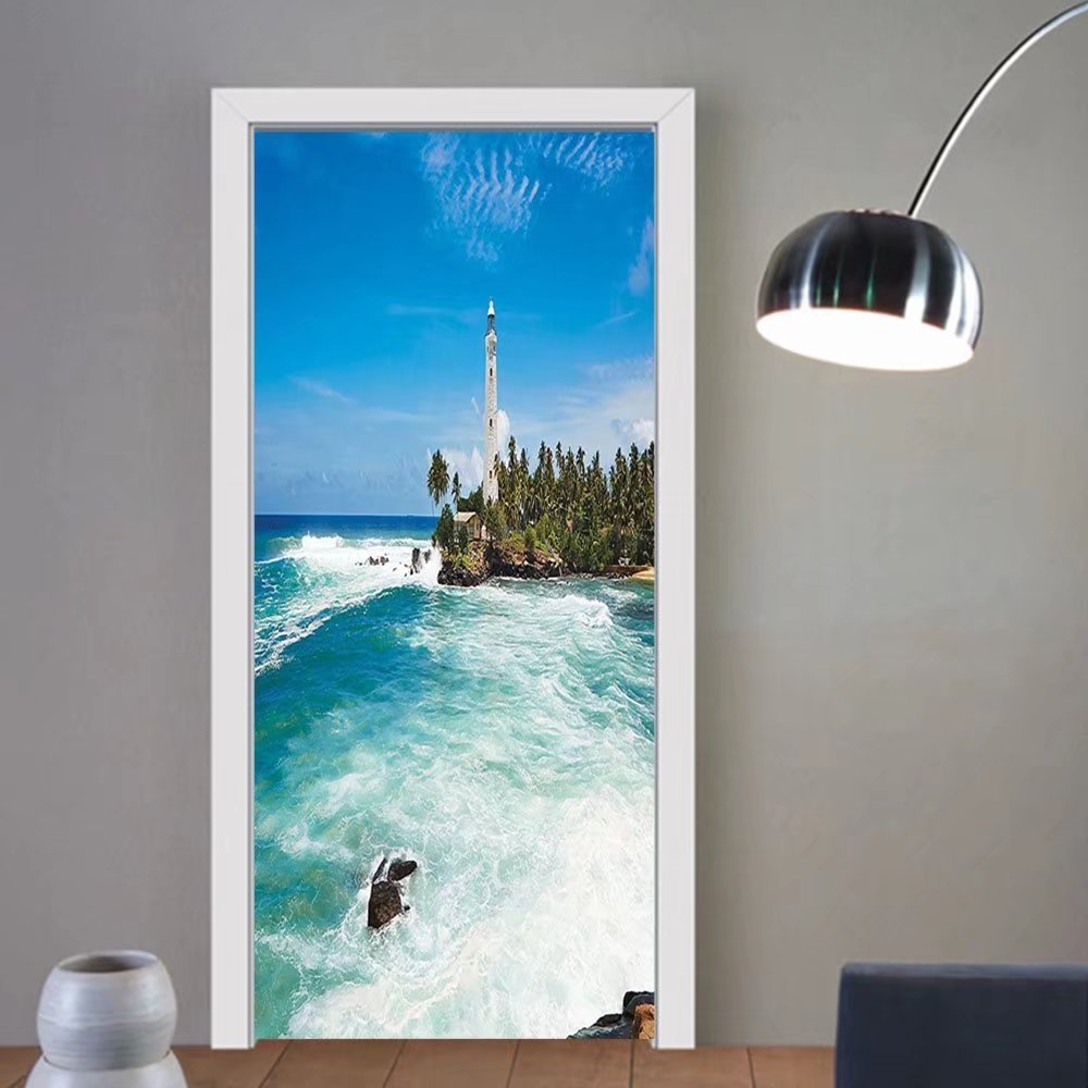 Gzhihine custom made 3d door stickers Lighthouse Decor Tropical Island Lighthouse With Palm Trees Rocks Wavy Seaside Beach Ocean Decor Blue White Green For Room Decor 30x79