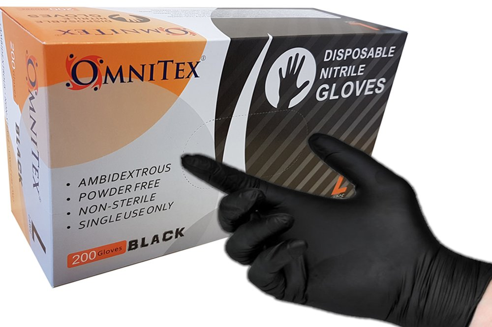 Box 200 - Omnitex BLACK Nitrile Gloves, Powder Free, Ambidextrous, Examination Non Sterile (Extra Large) Omnitex®