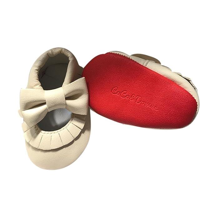 ba20f89b5e6 Amazon.com | Baby Girls Cream Red Soft Sole Mary Jane Bow Faux ...