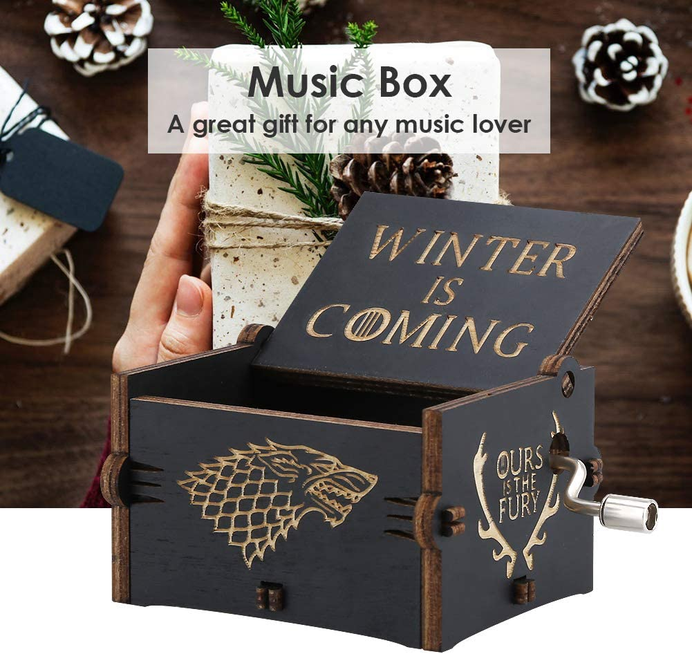 Black Imncya Game of Thrones Music Box Retro Carved Wooden Home Decoration Crafts Antique Hand Crank Winter is Coming Theme 18 Note Mechanism Musical Box Gifts for Fans
