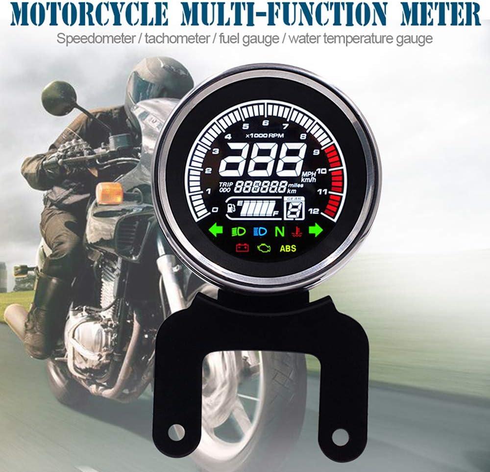 KKmoon Contagiri per Moto Kit Indicatore Tachimetro con Supporto Contachilometri Moto 12000rpm Multifunzione con Display LCD
