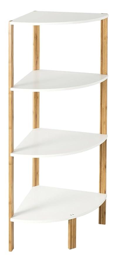 In legno di bambù a 4 ripiani libreria mensola scaffale ad angolo in ...