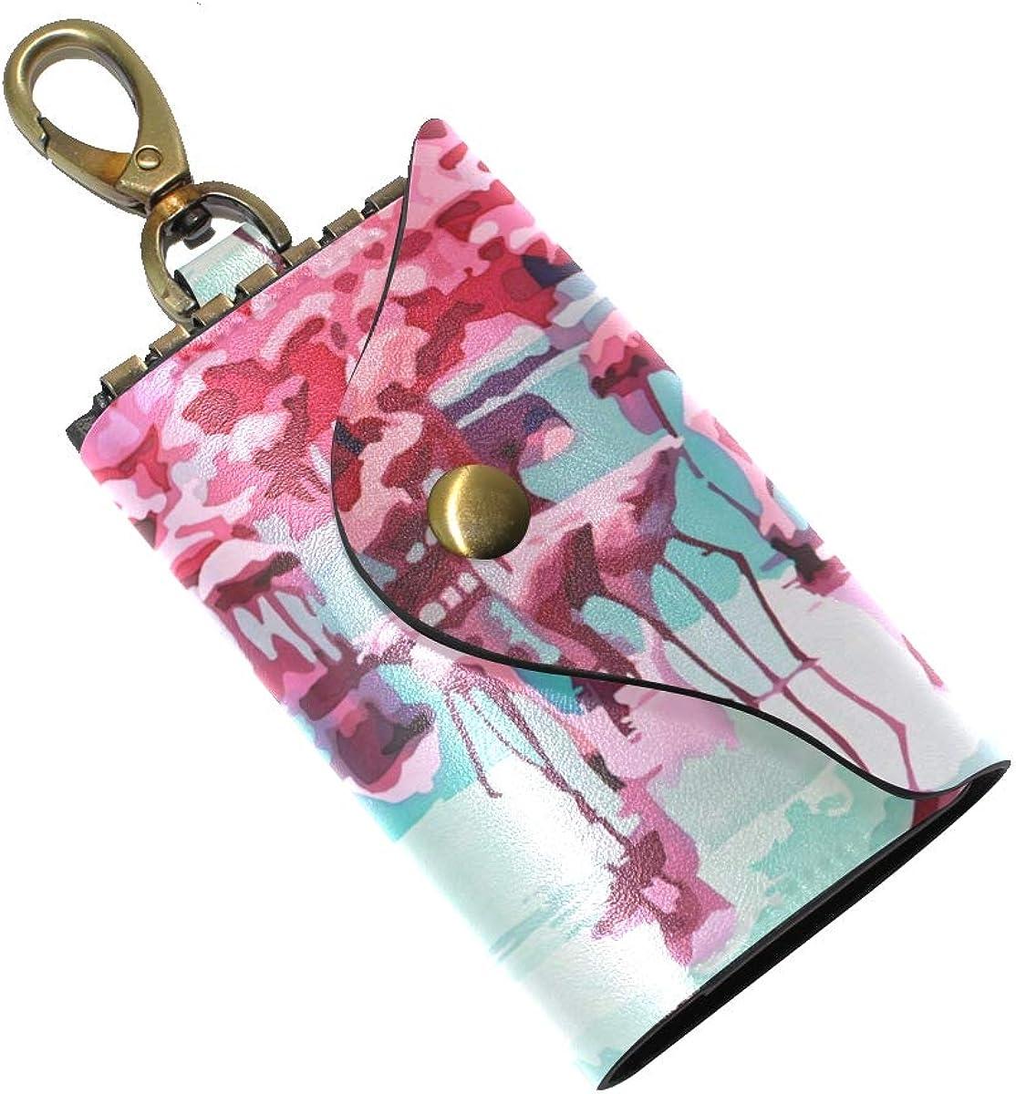 KEAKIA Painting Flamingos Leather Key Case Wallets Tri-fold Key Holder Keychains with 6 Hooks 2 Slot Snap Closure for Men Women