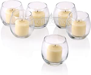 Light In The Dark Clear Glass Hurricane Votive Candle Holders with Ivory Votive Candles Burn 10 Hours Set of 36