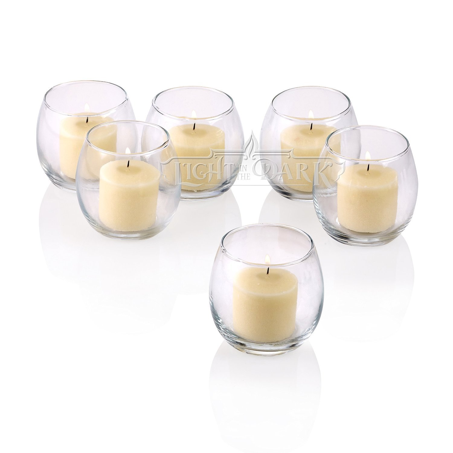 Clear Glass Hurricane Votive Candle Holders With Ivory votive candles Burn 10 Hours Set of 72