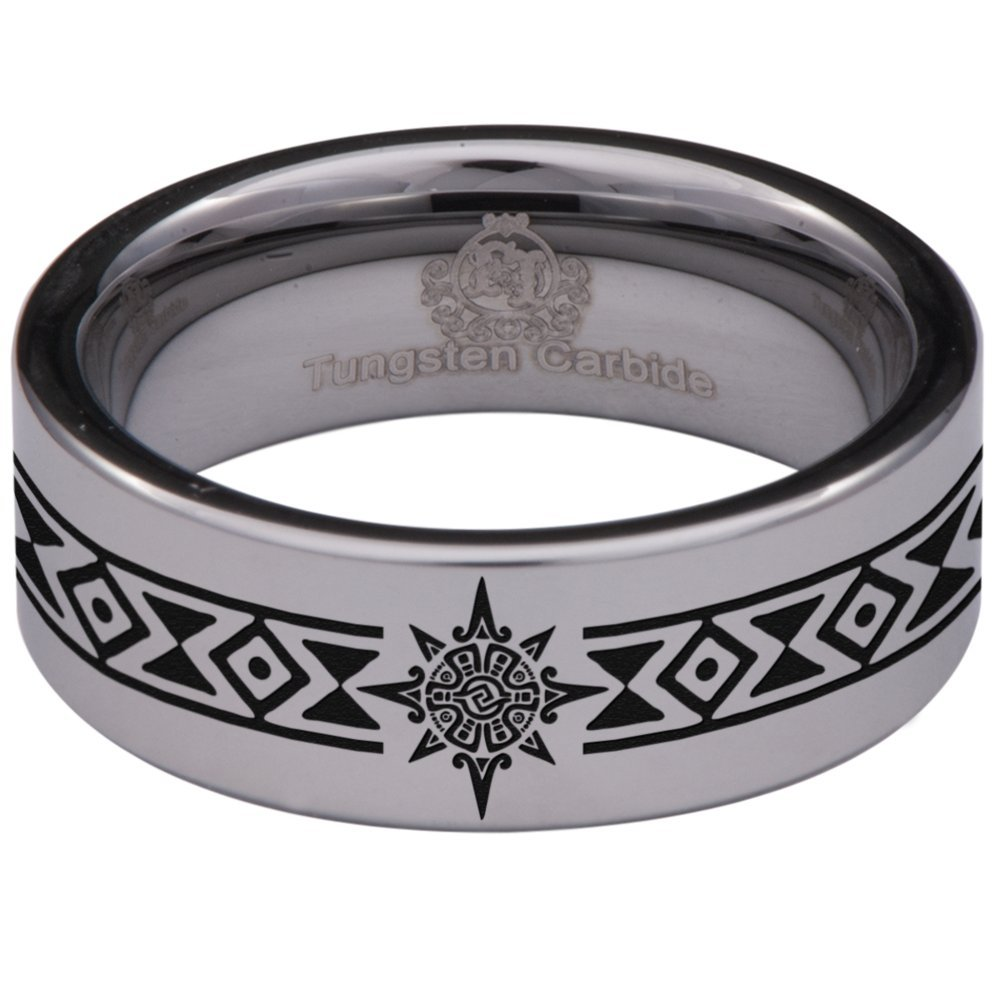 Friends of Irony Silver Tungsten Carbide Aztec Sun Ring 8mm Wedding Band Anniversary Ring for Men and Women Size 10.5