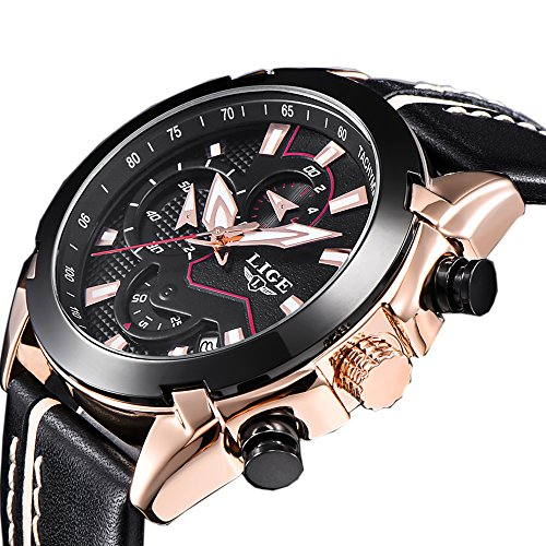 Automatic Chronograph Rose - Men Quartz Sports Watch Chronograph Fashion Luxury Brand Designer Original Leather Strap Rose Gold Casual Business Wrist Watches