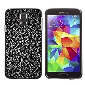 TECHCASE**Cubierta de la caja de protección la piel dura para el ** Samsung Galaxy S5 SM-G900 ** Flowers Grey Wallpaper Black Garden