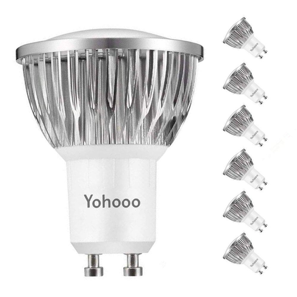 Spotlight, GU10 LED bombillas, 5.5 W Equivalente a 50 W, Blanco frío 6000 K 120 ° ángulo de haz, Iluminación de la pista Pack de 6 Blanco frío 6000 K 120 ° ángulo de haz Iluminación de la pista Pack de 6 yohooo