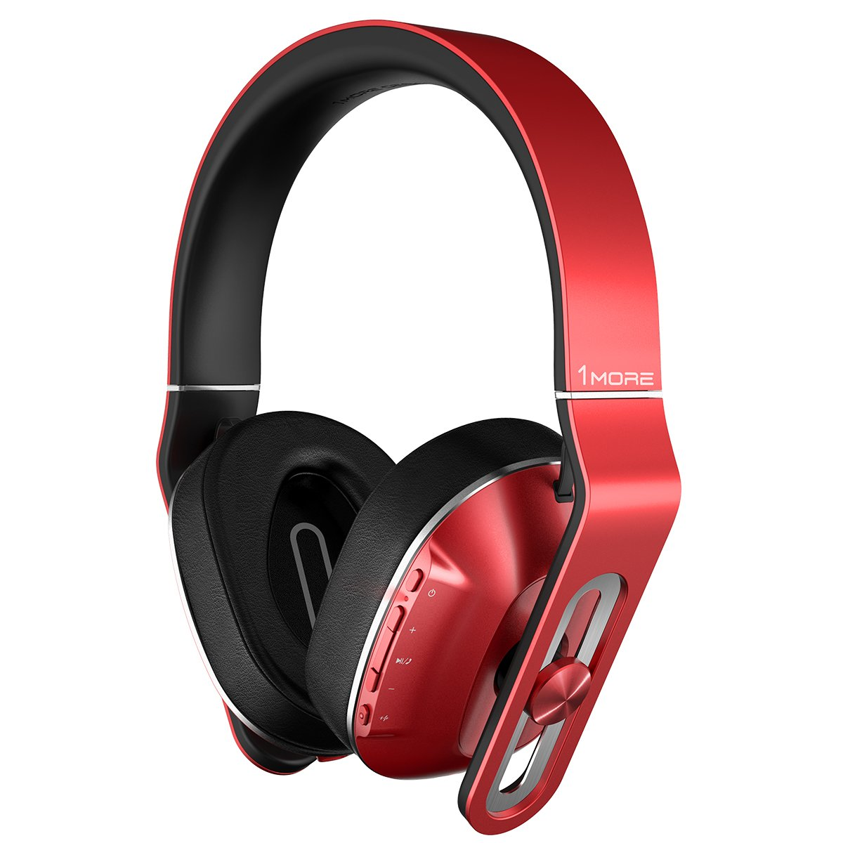 1MORE MK802-RD Bluetooth Wireless Over-Ear Headphones with Apple iOS & Android Compatible Microphone & Remote Red