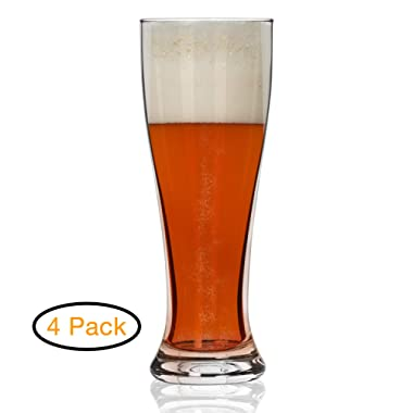 Nucleated Pilsner Glasses- Beer Glass for Better Head Retention, Aroma and Flavor - 16 oz Craft Beer Glasses for Beer Drinking Bliss - Gift Idea for Men - 4 Pack